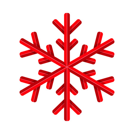 Vector illustration of red snowflake