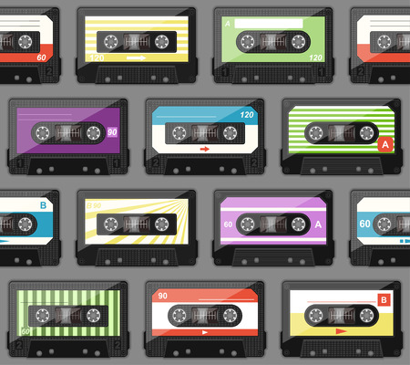 seamless pattern with old audio cassettes Vector