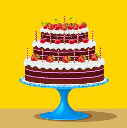 pastel de chocolate: Ilustración del vector de la torta de cumpleaños con las fresas y las cerezas Vectores
