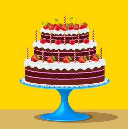 Vector illustration of Birthday cake with strawberries and cherries