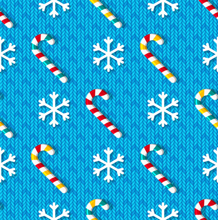 christmas candy: Christmas seamless pattern with candy and snowflakes on blue knitted background Illustration