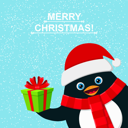 felicitation: Cute penguin with gift box and felicitation Merry Christmas