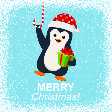 christmas bird: Cute penguin with gift box and Merry Christmas Illustration