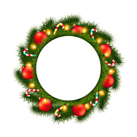 empty frame: Christmas wreath with empty round frame isolated on white Illustration