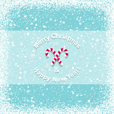 snowflake border: Christmas card with candy cane Illustration