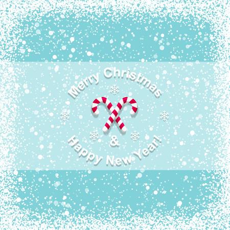 copo de nieve: Tarjeta de Navidad con el bast�n de caramelo Vectores