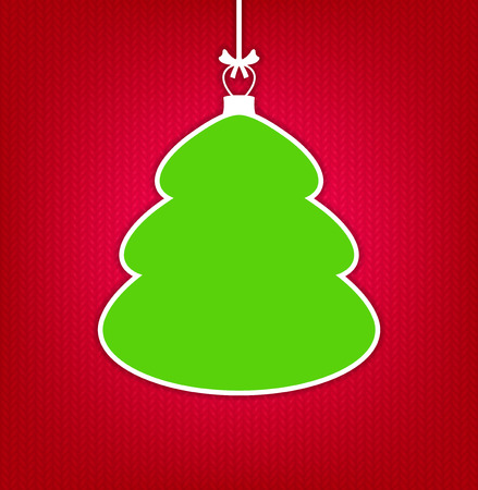 speech bubble vector: Red knitted background with empty frame as Christmas tree