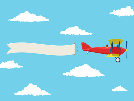 Red airplane with pilot and advertising banner in the cloudy sky