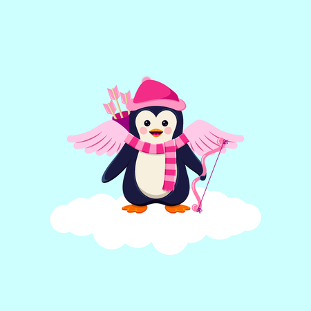 Valentines Day Background With Penquin Cupid On White Cloud Illustration