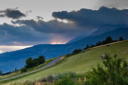 distant spot: mountain background