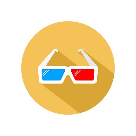3d glasses icon vector for watching movie and film, isolated on yellow circle Illustration