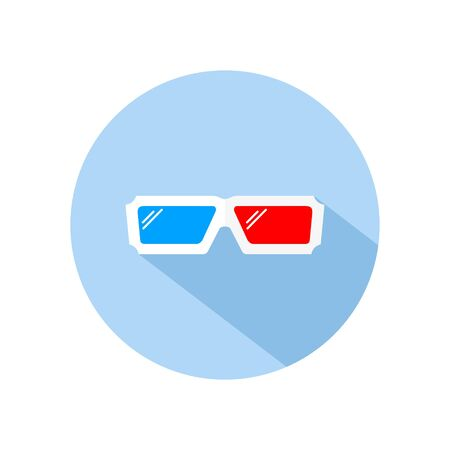 3d glasses icon vector for watching movie and film, isolated on blue circle