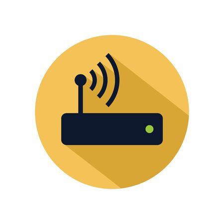 Router hotspot icon vector isolated on yellow circle. Wifi router icon for web and mobile phone Archivio Fotografico - 131835776