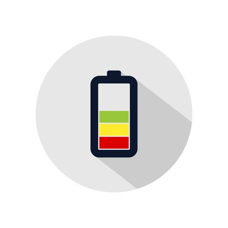 Battery low charging icon vector, Battery charged illustration, power battery sign