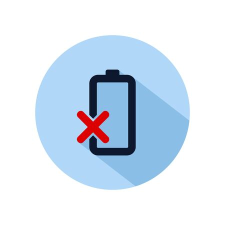 Damaged battery icon vector, battery damaged illustration, power battery sign isolated on blue circle