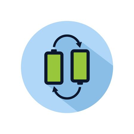 Battery position icon vector, two battery illustration, power battery sign isolated on blue circle