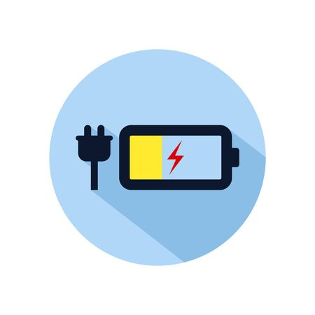 Battery low charging icon vector, Charging battery illustration, power battery sign isolated on blue circle Illusztráció