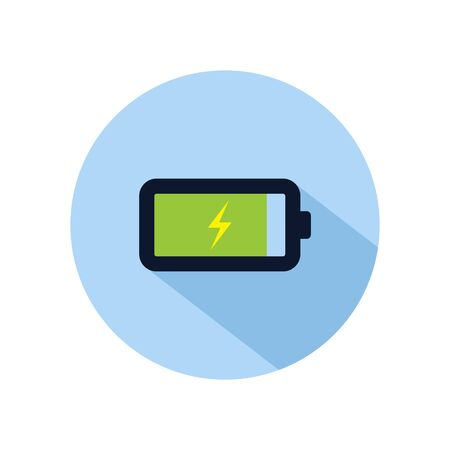 Battery charged icon vector, Charging battery illustration, power battery sign