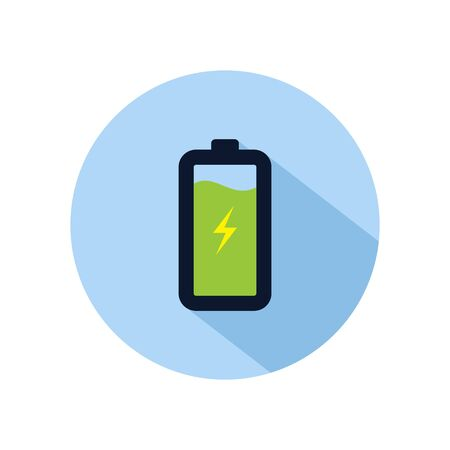 Battery charging icon vector, charging battery illustration, power battery sign isolated on blue circle
