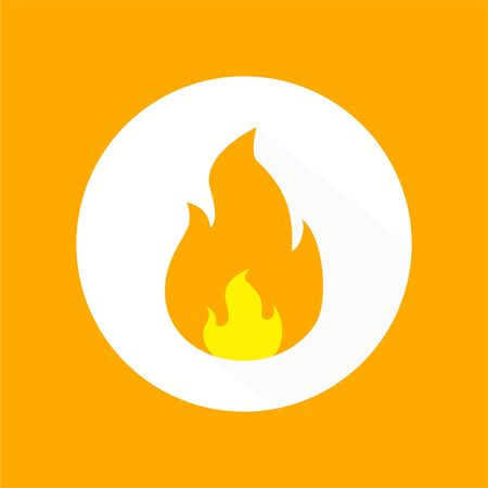 Fire flame icon vector. illustration of fire isolated on white circle, fire flame element Ilustrace