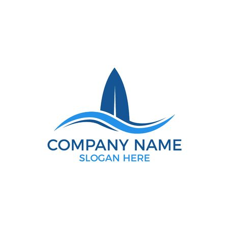 Surf logo vector. Surfboard with wave template for logo. Beach outdoor recreation