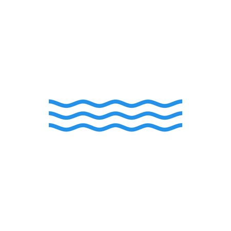 Line water wave icon vector. Line wave logo design template
