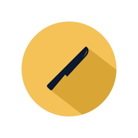 Knife icon vector, cutlery isolated on yellow circle, vector restaurant element