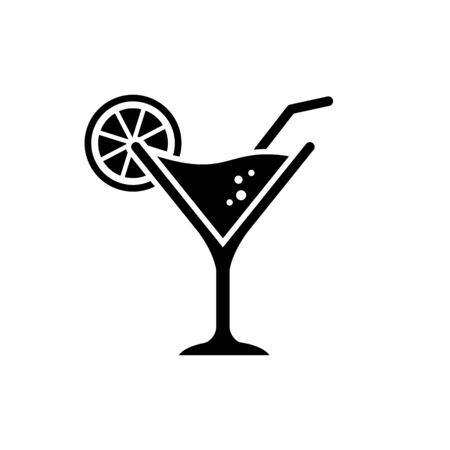 Cocktail glass black icon vector. Black illustration of cocktail glass with lemon