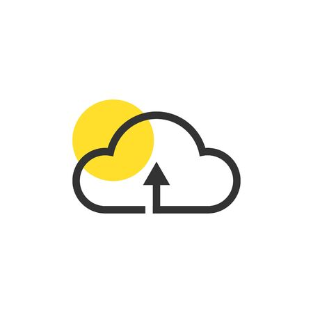 Cloud icon vector, Data, Storage, Cloudy yellow highlight circle