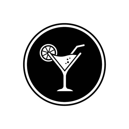 Cocktail glass black icon vector. Illustration of cocktail glass on black circle