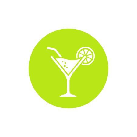 Cocktail glass icon vector. Illustration of cocktail glass on green lemon circle