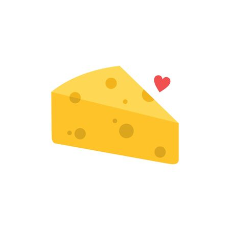 Cheese vector with love icon. Vector illustration of cheese