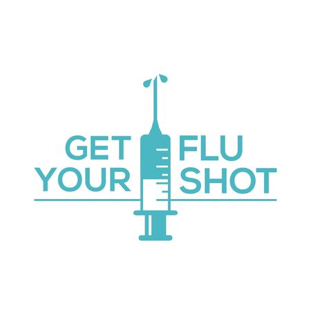 Get your flu shot with syringe injection icon. Flu vaccine isolated on white background