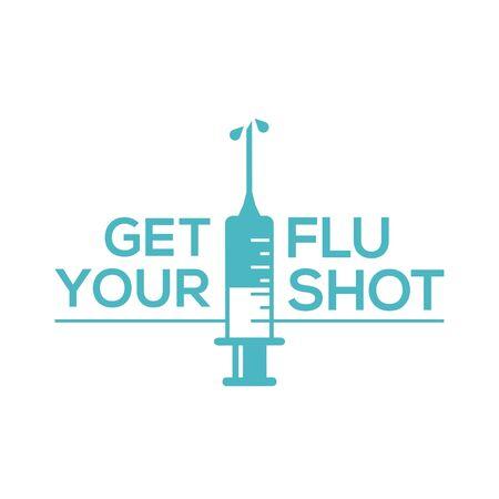 Obtenga su vacuna contra la gripe con el icono de inyección de jeringa. Vacuna contra la gripe aislada sobre fondo blanco Ilustración de vector