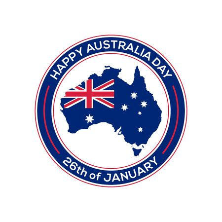 Happy Australia day 26th January, map of Australia with flag vector illustration 스톡 콘텐츠 - 136857393