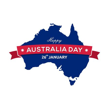 Happy Australia day 26th January lettering, map of Australia with ribbon vector illustration 스톡 콘텐츠 - 136857395