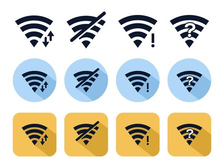 Wifi icon set. Illustration of wireless internet icon or symbol