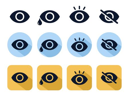 Eye icon set vector for web, software, application, and mobile