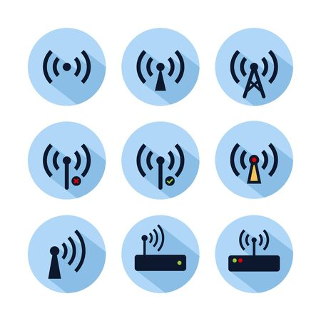 Wifi hotspot icon set isolated on blue circle. Hotspot connection icon for web and mobile phone 向量圖像