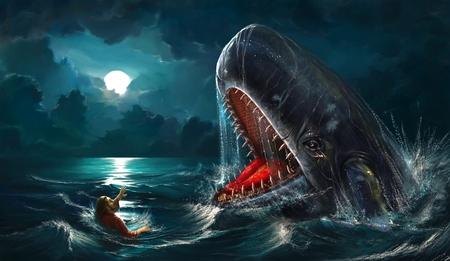 Jonah y la ballena Foto de archivo