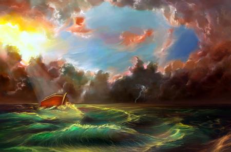 Arca de Noé. La tormenta ha terminado. Foto de archivo