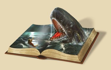 Libro de Jonás. Historias de la Biblia Foto de archivo - 77707397