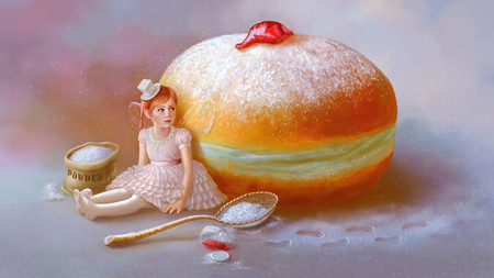 faerie: Sweet mystery. Sugar fairy. Hanukkah, sufganiyah.