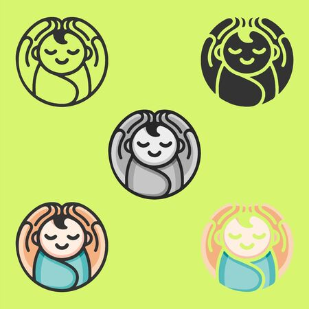 Baby in arms logo. Concept of protect child, this can also used for UI, UX, test tube baby, save child. Six icons - linear, solid, black and white, color line, multicolored. Flat vector illustration. 向量圖像