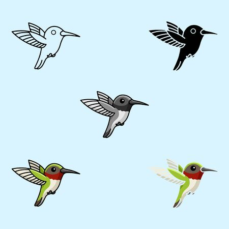 Tropical hummingbird toy. Cool little one bird for nursery t-shirt, kids apparel, invitation UI, UX. Six icons - linear, solid, black and white, color line, multicolored. Flat vector illustration