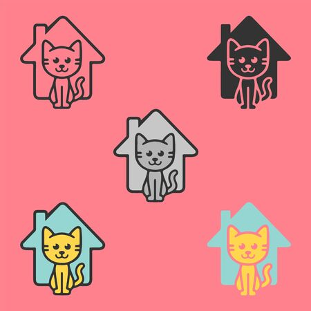 Cat house logo. Animal shelter care. Happy cool little kitten near the home for invitation, logo, UI, UX. Six icons - linear, solid, black and white, color line, multicolored. Flat vector illustration