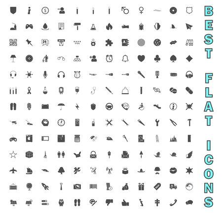 Exclusive Mega Bundle Icons Pack. Collection universal solid vector icons for website, project, business, infographic, web design, mobile app, online market. Isolated Elements on White Background. 版權商用圖片 - 146691756