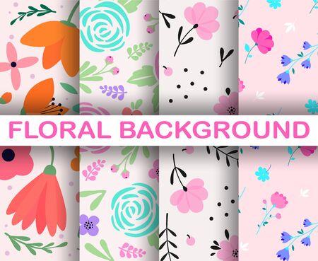 4 light seamless background set. Trendy colorful scandinavian hand drawn pattern. Tropical exotic leaves and flowers 向量圖像