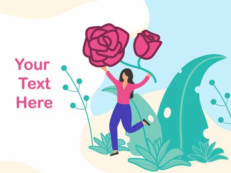 Running young character women with big rose flower. Use in Web Project and Applications for gardening, growing and studying plants in nature, clean ecology. Vector illustration simple flat design.
