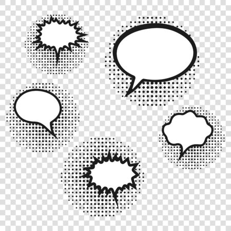 Luxury retro empty comic bubbles and elements set with black halftone shadows. Vector illustration, vintage design, pop art style. 向量圖像